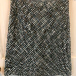 Ann Taylor A-Line Blue Tweed Skirt